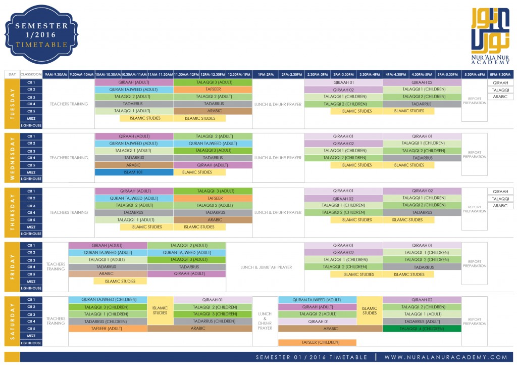 (timetable) SEMESTER 1 2016-01